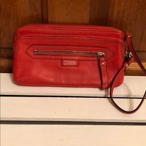 Red coach wallet Wristlet